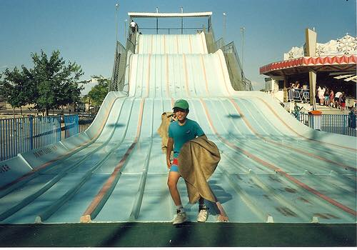 The green slide at the old Western Playland at Ascarate Park/Lake.